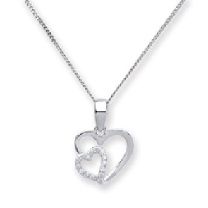 RP Silver Pendant CZ Open Hearts
