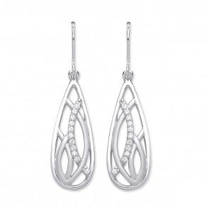 RP Silver Earrings HW CZ Matt/Polish Fancy Drops