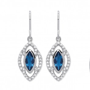 RP Silver Earrings HW Blue Crystal/CZ Fancy Drops