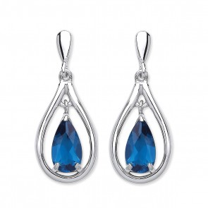 RP Silver Earrings FF Blue Crystal Open Pear Drops
