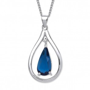 RP Silver Pendant Blue Crystal Open Pear