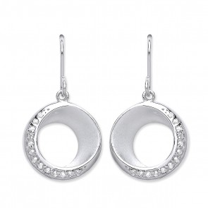 RP Silver Earrings HW CZ Matt/Polish Open Round Drops