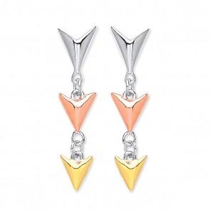 RP Silver Earrings FF 3 Colour 'V' Drops