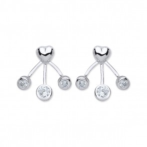 RP Silver Earrings FF Plain Heart/CZ Enhancer