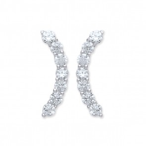 RP Silver Earrings FF CZ Curve Studs