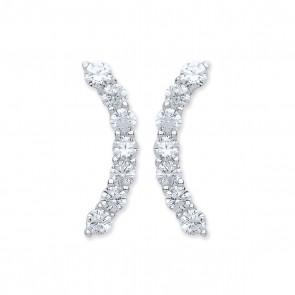 RP Silver Earrings FF CZ Curve Studs