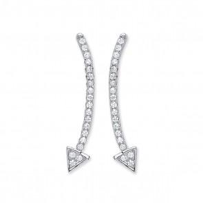 RP Silver Earrings FF CZ Curved Arrow Studs