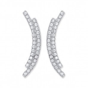RP Silver Earrings FF CZ 2 Row Curve Studs