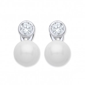 RP Silver Earrings FF CZ/Imitation Pearl Studs