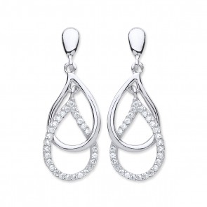 RP Silver Earrings FF CZ Open Fancy Drops