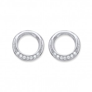 RP Silver Earrings FF CZ Open Round Studs