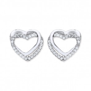 RP Silver Earrings FF Plain/CZ Open Heart Studs