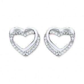 RP Silver Earrings FF Plain/CZ Open Heart Studs